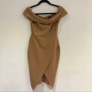 BOOHOO Tan Dress
